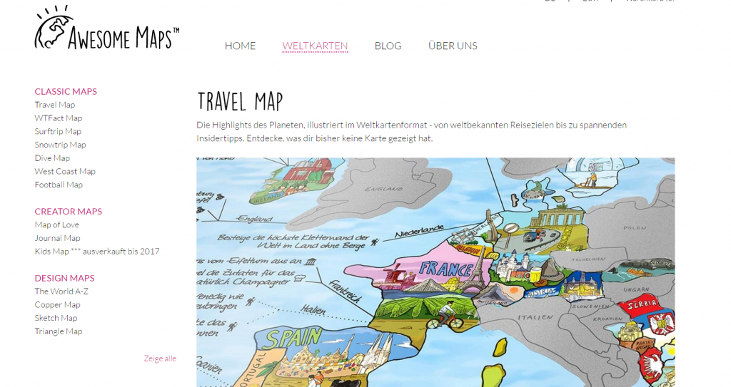 Awesome Maps, Shop für originelle Weltkarten